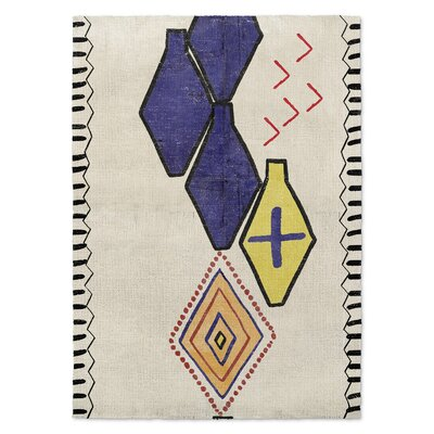 Bousslama Beige/Blue Area Rug Rug Size: Rectangle 5 x 7