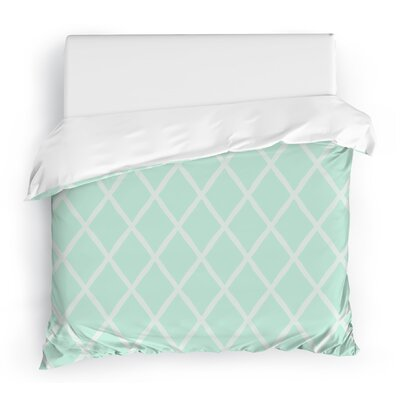 Lattice Work Duvet Cover Size: Twin, Color: Aqua/White