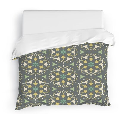 Jardin Duvet Cover Color: Green/Gray/Yellow, Size: Full/Queen