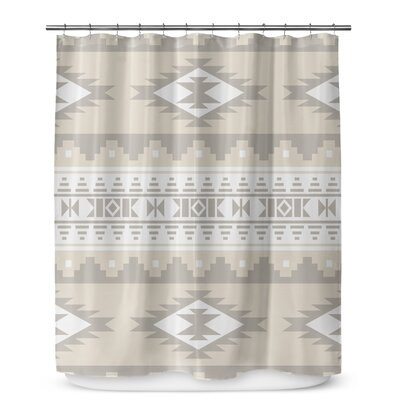 Fleur Geometric Shower Curtain Color: Cream/White