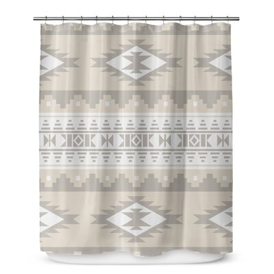 Fleur Shower Curtain Color: Beige/White
