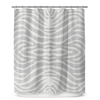 Nerbone Cotton Blend Shower Curtain Color: Grey/ Ivory, Size: 90 H x 70 W
