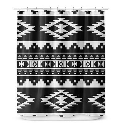 Fleur Geometric Shower Curtain Color: Black