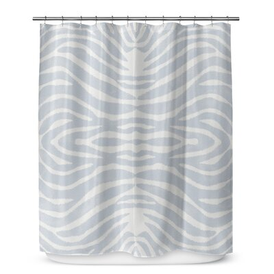 Nerbone Cotton Blend Shower Curtain Color: Blue/ Ivory, Size: 90 H x 70 W