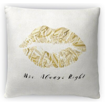 Mrs Right Fleece Throw Pillow Size: 16 H x 16 W