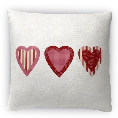3 Hearts Fleece Throw Pillow Size: 18 H x 18 W