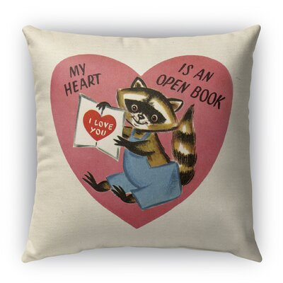 My Heart Is An Open Book Burlap Indoor/Outdoor Throw Pillow Size: 16 H x 16 W