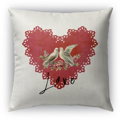 Love Birds 2 Burlap Indoor/Outdoor Throw Pillow Size: 26 H x 26 W, Color: Red/ Tan/ Black