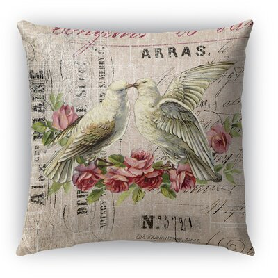 Love Birds 3 Burlap Indoor/Outdoor Throw Pillow Size: 26