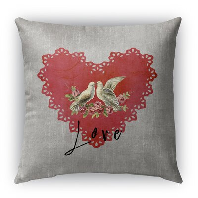 Love Birds 2 Burlap Indoor/Outdoor Throw Pillow Size: 26 H x 26 W, Color: Grey/ Red
