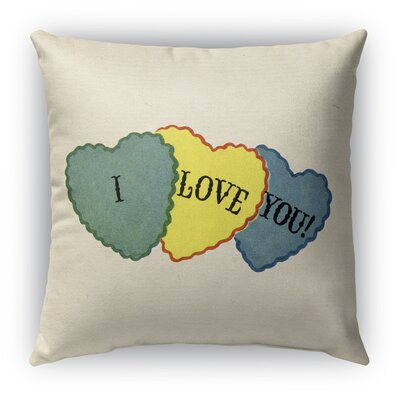 I Love You Burlap Indoor/Outdoor Throw Pillow Size: 20 H x 20 W