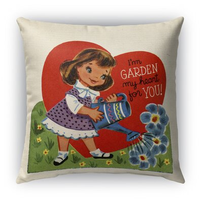Garden My Heart for You Burlap Indoor/Outdoor Throw Pillow Size: 26 H x 26 W
