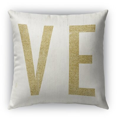Ve Burlap Indoor/Outdoor Throw Pillow Size: 18 H x 18 W, Color: Gold/ Ivory