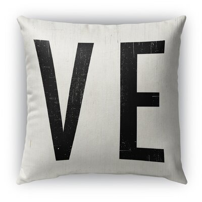Ve Burlap Indoor/Outdoor Throw Pillow Size: 26 H x 26 W, Color: White/Black