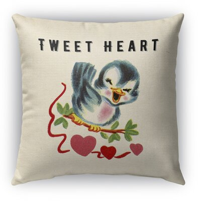 Tweet Heart 2 Burlap Indoor/Outdoor Throw Pillow Size: 16 H x 16 W