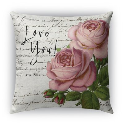 Love You Burlap Indoor/Outdoor Throw Pillow Size: 26 H x 26 W
