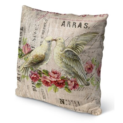 Love Birds Burlap Indoor/Outdoor Pillow Size: 16 H x 16 W