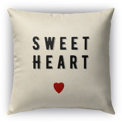 Sweet Heart Burlap Indoor/Outdoor Throw Pillow Size: 16