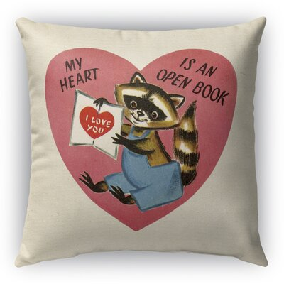 My Heart is An Open Book Burlap Indoor/Outdoor Pillow Size: 26 H x 26 W