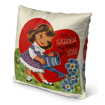 Garden My Heart for You Burlap Indoor/Outdoor Pillow Size: 16 H x 16 W