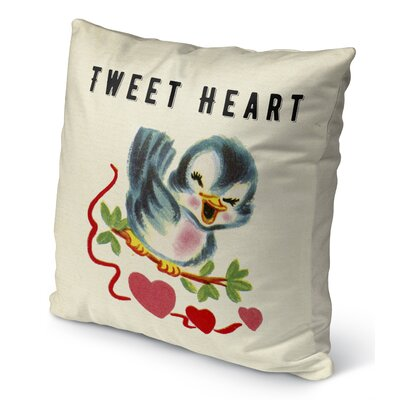 Tweet Heart Burlap Indoor/Outdoor Pillow Size: 18 H x 18 W