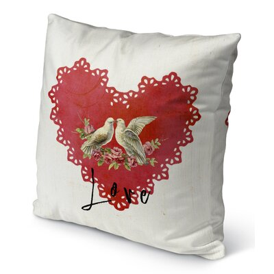 Love Birds Burlap Indoor/Outdoor Pillow Size: 26 H x 26 W
