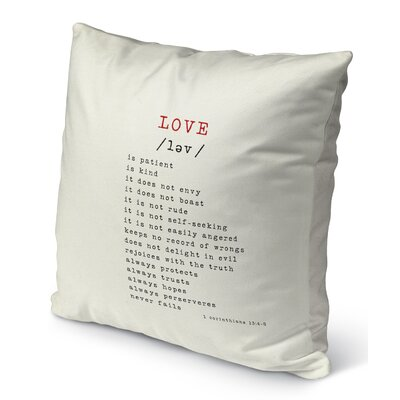 Love Burlap Indoor/Outdoor Pillow Size: 26 H x 26 W, Color: Red/ Black