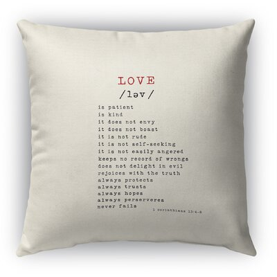 Love Burlap Indoor/Outdoor Pillow Size: 18 H x 18 W, Color: Red