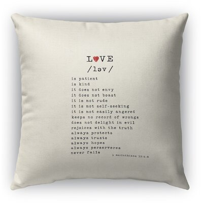 Love is Burlap Indoor/Outdoor Throw Pillow Size: 26 H x 26 W