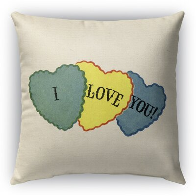 I Love You Burlap Indoor/Outdoor Pillow Size: 18 H x 18 W