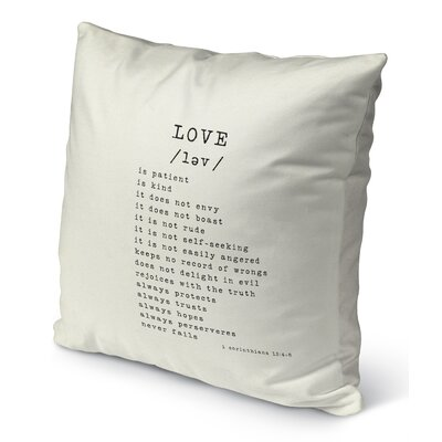 Love Burlap Indoor/Outdoor Pillow Size: 18 H x 18 W, Color: Black
