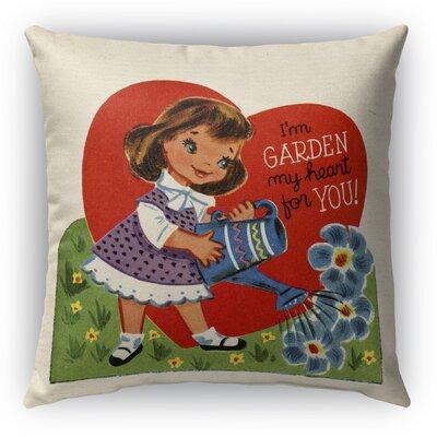 Garden My Heart for You Burlap Indoor/Outdoor Throw Pillow Size: 16 H x 16 W