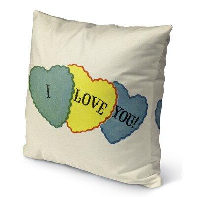 I Love You Burlap Indoor/Outdoor Pillow Size: 16 H x 16 W