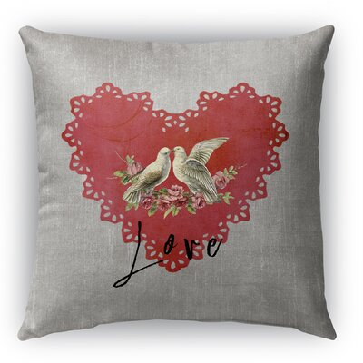 Love Birds Burlap Indoor/Outdoor Throw Pillow Size: 16 H x 16 W
