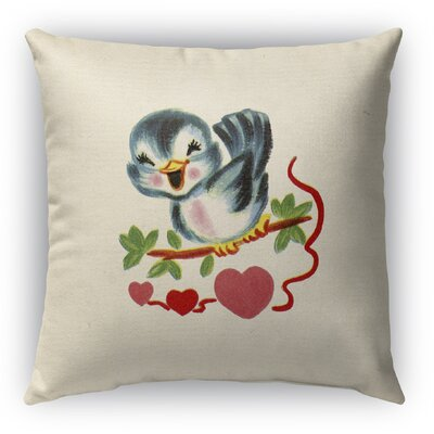 Tweet Heart Burlap Indoor/Outdoor Throw Pillow Size: 18 H x 18 W