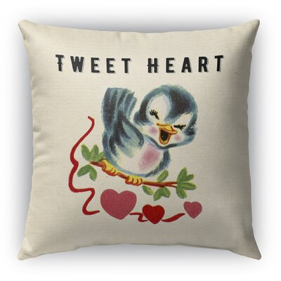Tweet Heart Burlap Indoor/Outdoor Throw Pillow Size: 26 H x 26 W
