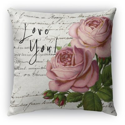 Vintage Love You Burlap Indoor/Outdoor Pillow Size: 26 H x 26 W