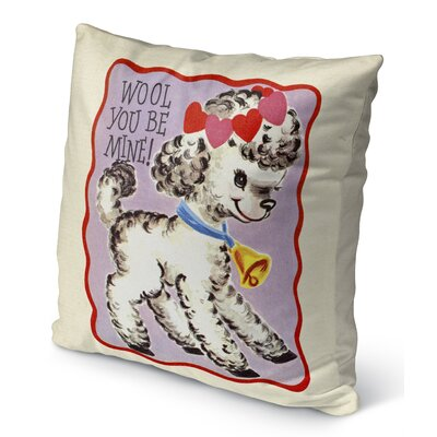 Wool You Be Mine Burlap Indoor/Outdoor Pillow Size: 18 H x 18 W