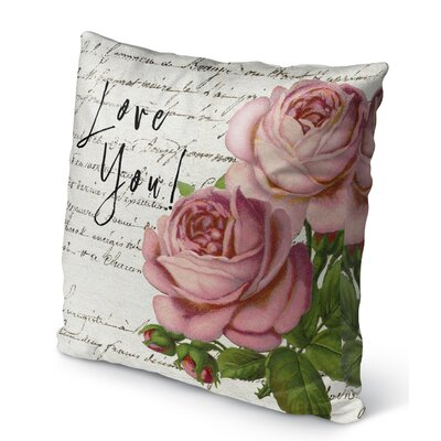 Vintage Love You Burlap Indoor/Outdoor Pillow Size: 16 H x 16 W