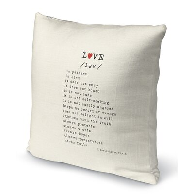 Love Is 3 Indoor Accent Pillow Size: 16 H x 16 W