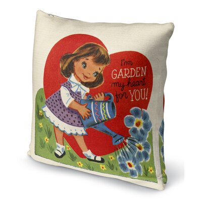 Garden My Heart for You Indoor Accent Pillow Size: 18 H x 18 W