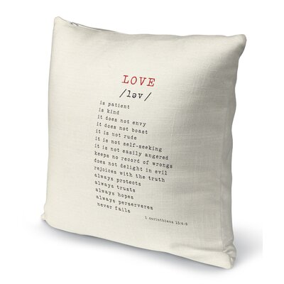 Love Is 2 Indoor Accent Pillow Size: 18 H x 18 W, Color: Red/ Black
