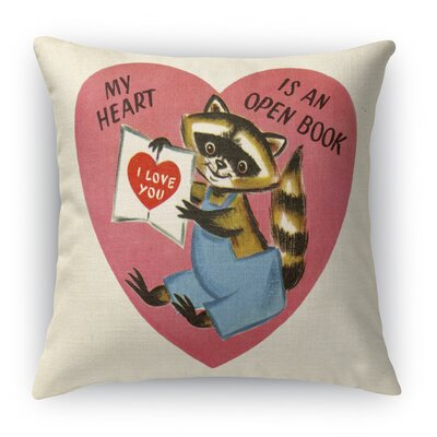My Heart Is An Open Book Indoor Accent Pillow Size: 16 H x 16 W