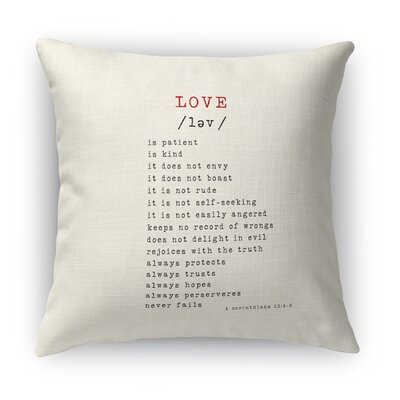Love Is 2 Indoor Accent Pillow Size: 16 H x 16 W, Color: Red