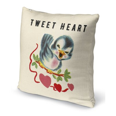 Tweet Heart 2 Indoor Accent Pillow Size: 18 H x 18 W