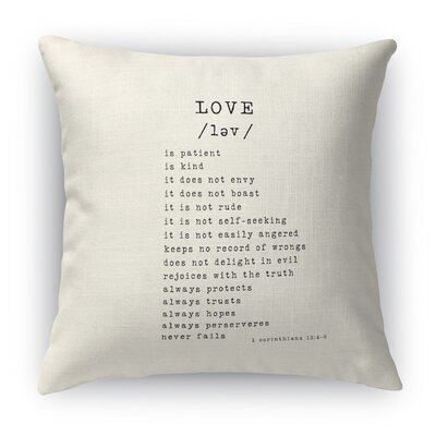 Love Is 2 Indoor Throw Pillow Size: 18 H x 18 W, Color: Black