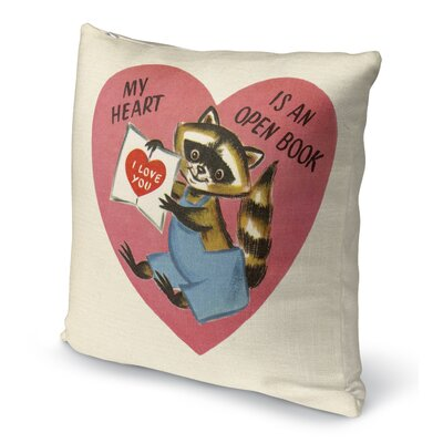 My Heart Is An Open Book Indoor Accent Pillow Size: 18 H x 18 W