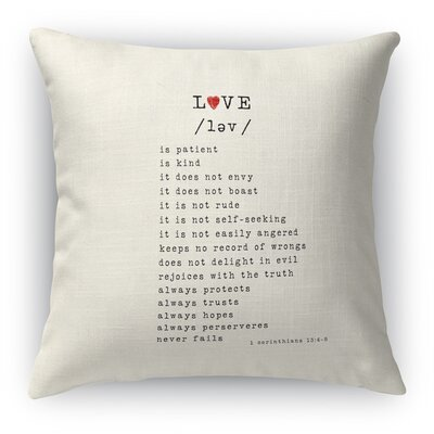 Love Is 3 Indoor Accent Pillow Size: 24 H x 24 W