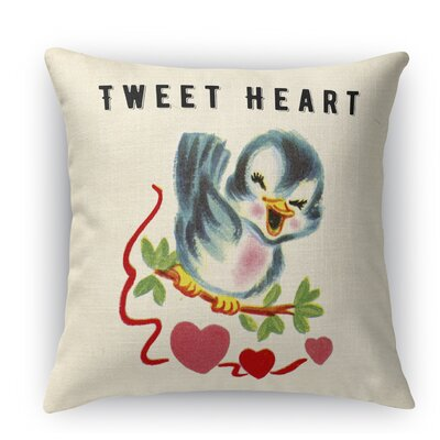 Tweet Heart 2 Indoor Accent Pillow Size: 24 H x 24 W