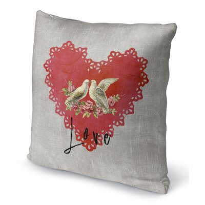 Love Birds Indoor Accent Pillow Size: 24 H x 24 W